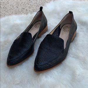 Vince Camuto Black Leather Loafer Flats